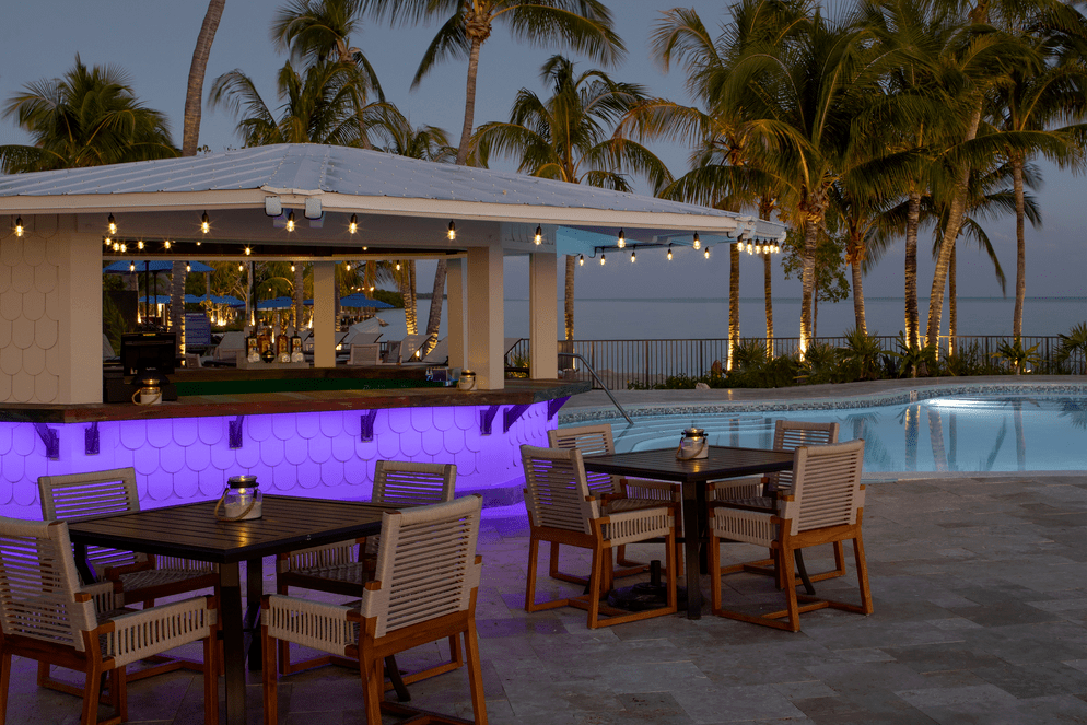 Photo of poolside bar overlooking the water